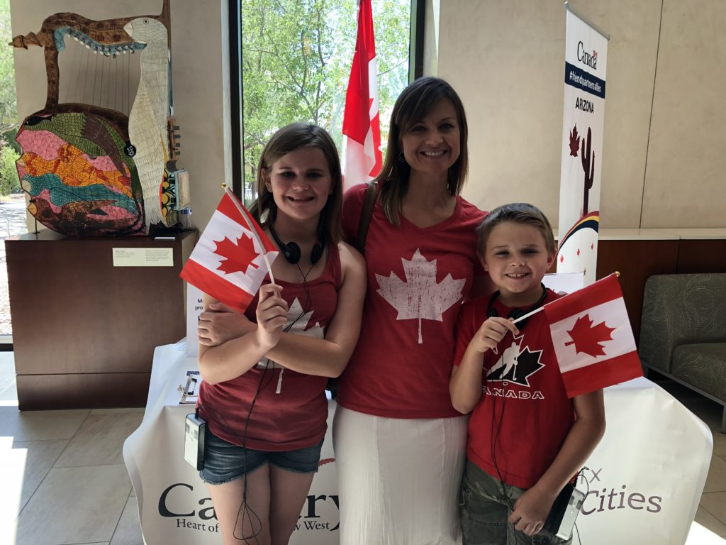 Many showed their Canadian pride with red and white maple leaf apparel and Canadian flags
