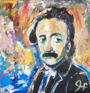 impressionist style of a man with a mustache, wearing a suit. Bright colored background behind the man.