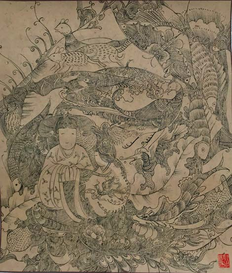 An ancient-looking Eastern piece with a woman surrounded by nature--plants and animals
