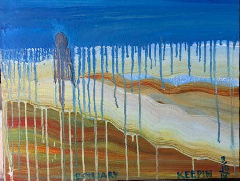 Blue paint drips over an abstract desert scene and shaded figure.