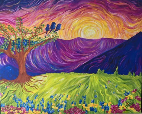 painting featuring a sunset, mountains, and a field with flowers and a tree