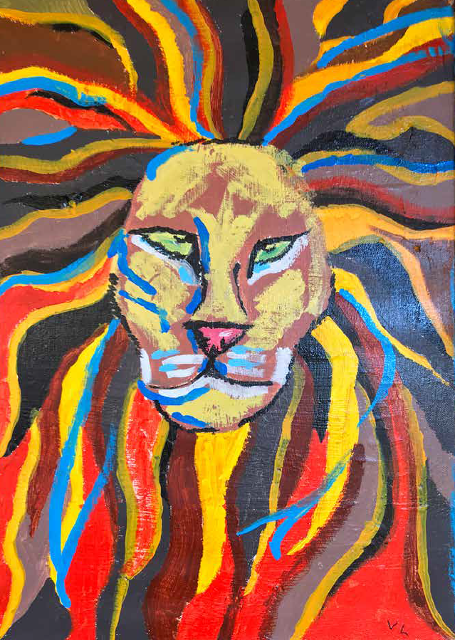 a colorful lion