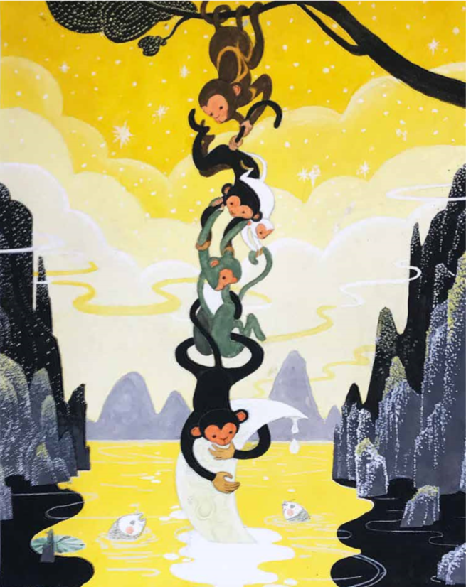 monkey chain grabbing a crescent moon out of a glowing body of water