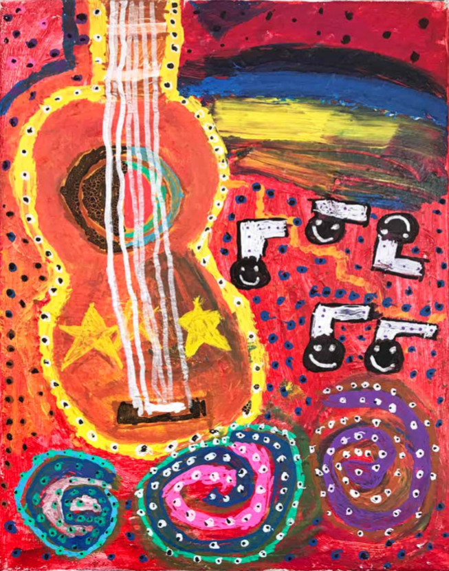 a guitar with musical notes with a background made of dots and many colors