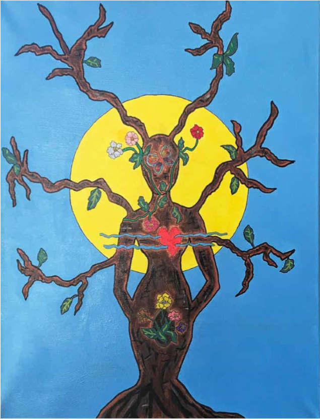 Person-shaped Tree with a heart and flowers